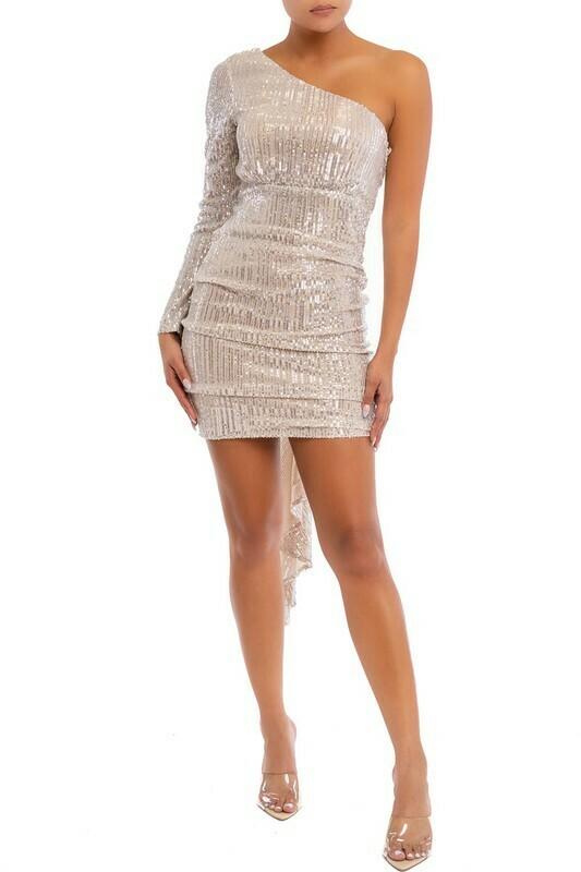 One Shoulder Draped Sequin Dress