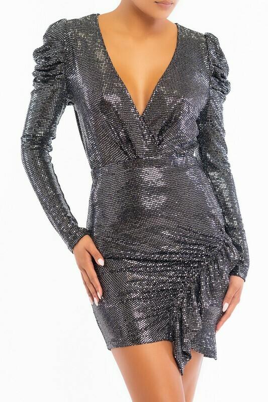 Disco Puff Sleeve Ruffle Dress