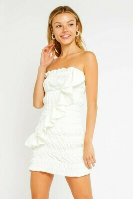 Satin Smocked Ruffle Dress