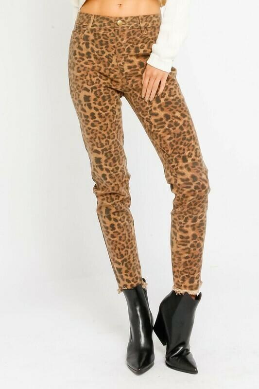 Brown Leopard High Waist Pants