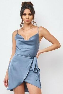 Cowl Neck Satin Wrap Dress