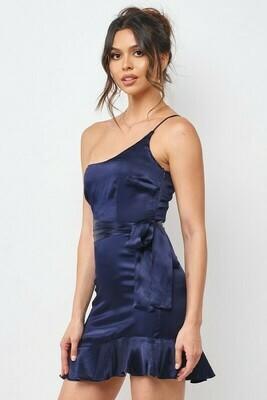 Satin One Shoulder Flare Dress