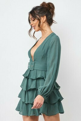 Tiered Ruffle Belted Dress