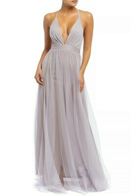 Rebecca Solid Mesh Gown