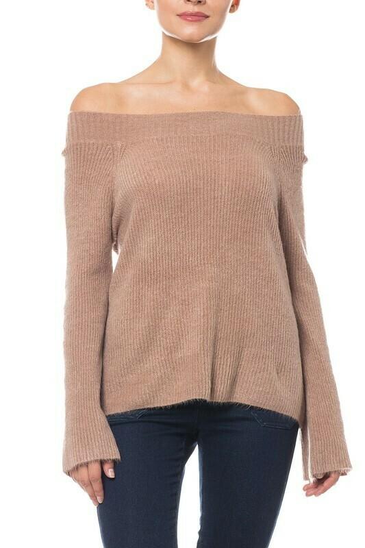 Off Shoulder Bell Sleeve Sweater