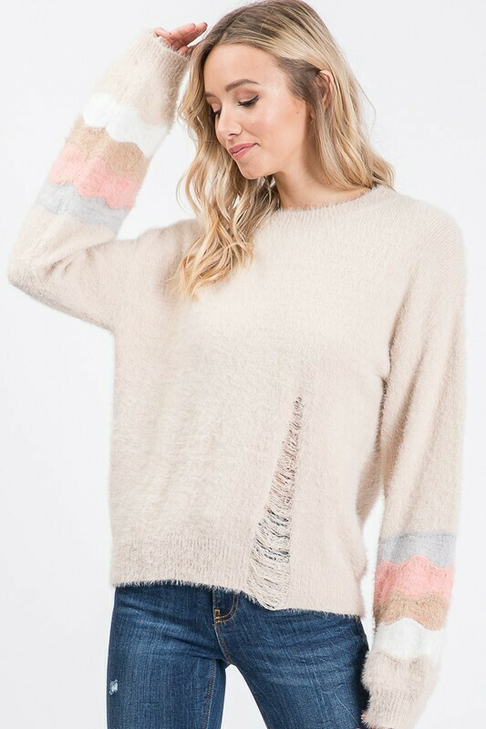 Tiana Distressed Stripe Sweater