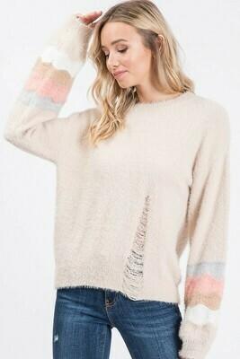 Tiana Distressed Stripe Sweater
