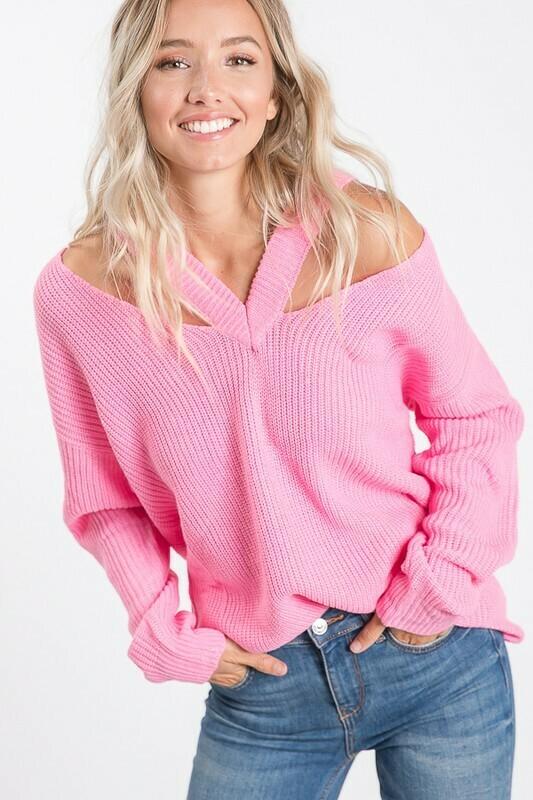 V Open Shoulder Sweater