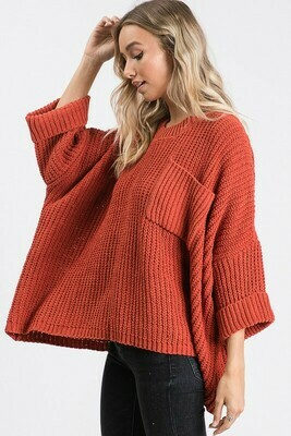 Wide Sleeve Pocketed Top