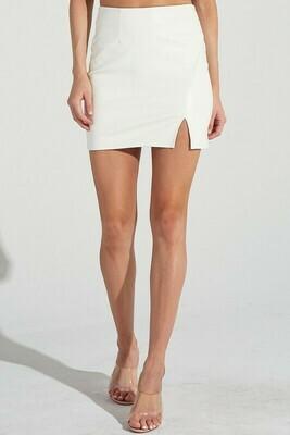 Pleather Slit Skirt