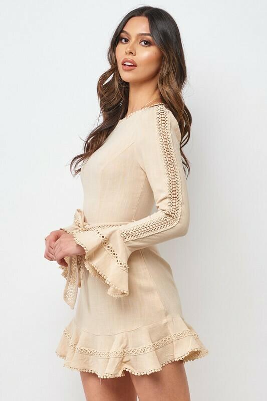 Bell Sleeve Crochet Trim Dress