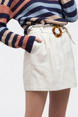 Paperbag Skirt With Buckle Belt