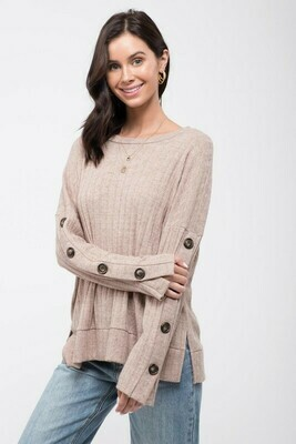 Button Sleeve Knit Top