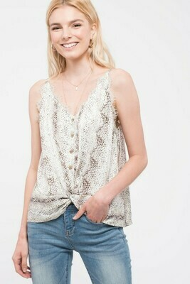 Woven Snake Cami Top With Twist Front