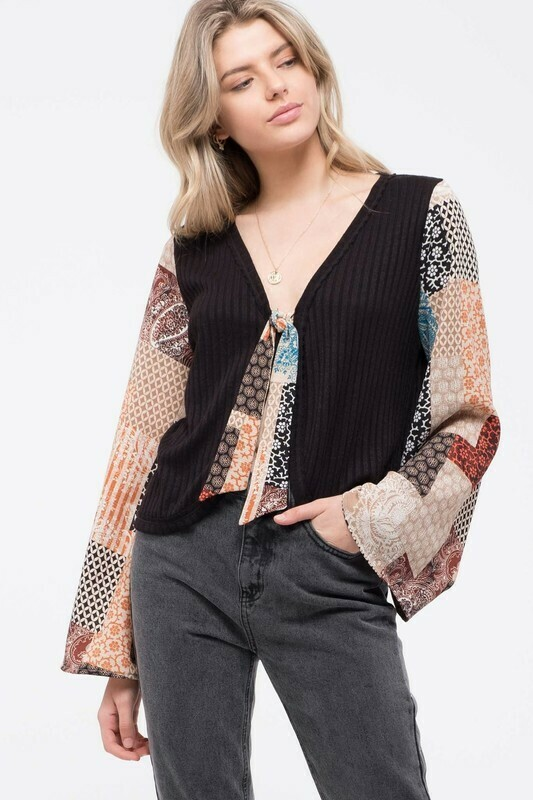 Contrast Patchwork Sleeve Knit Top