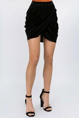 Striped Velvet Draped Mini Skirt