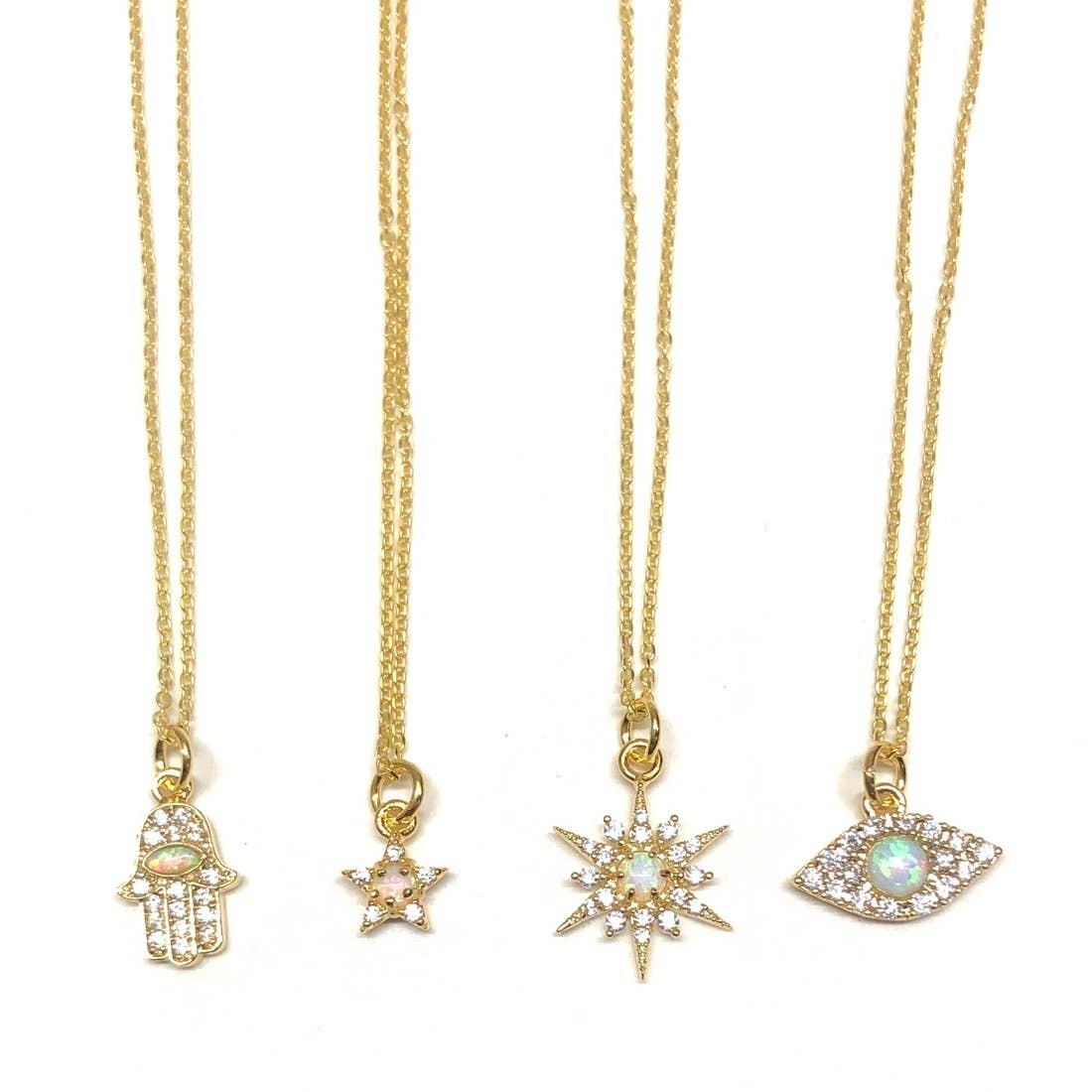 Golden Opal Charm Necklaces