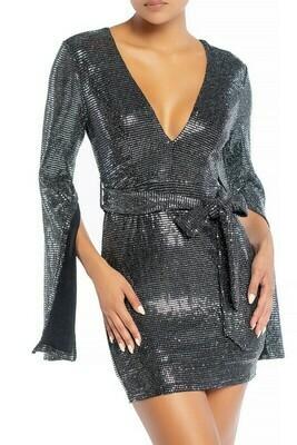 Glitter Bell Sleeve Slit Dress