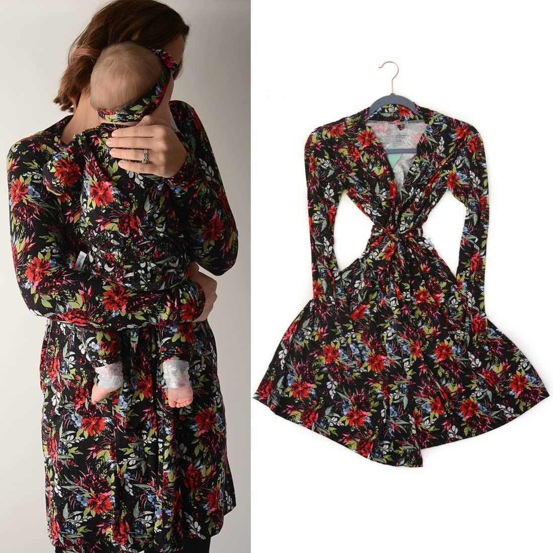 Black & Red Floral Mommy Robe