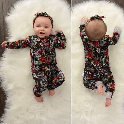 Black Floral Zip Up Onesie