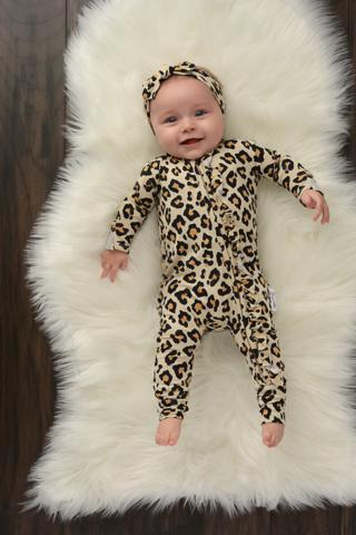 Gia Leopard Ruffle Onesie