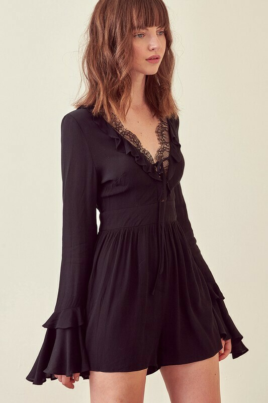 V Lace Bell Sleeve Romper