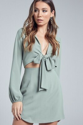 Collared Front Tie Dress
