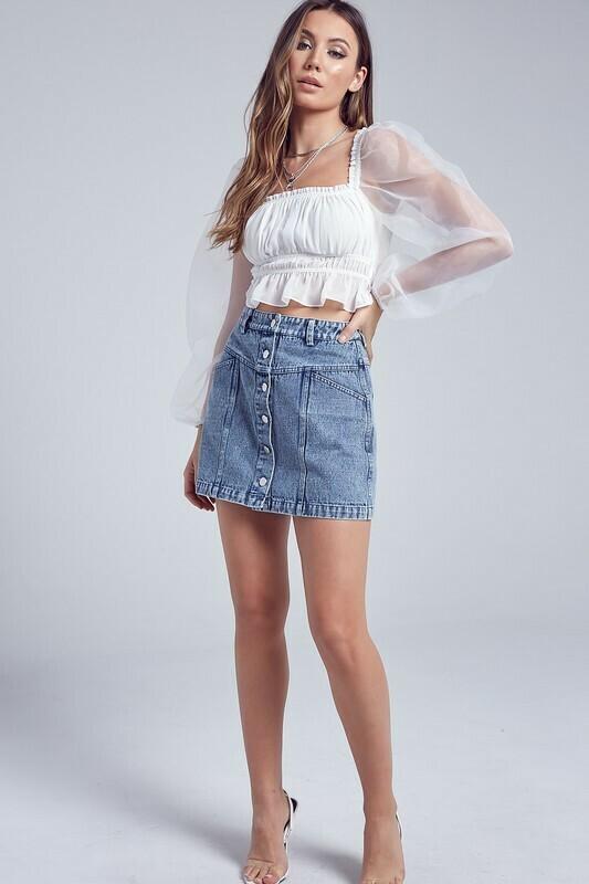 Front Button Down Denim Skirt