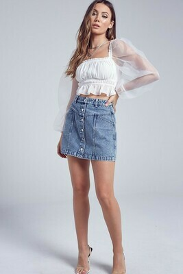 Front Button Down Denim Skirt