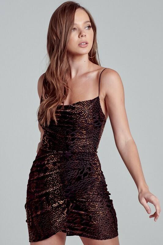 Snakeskin Cowl Neck Dress