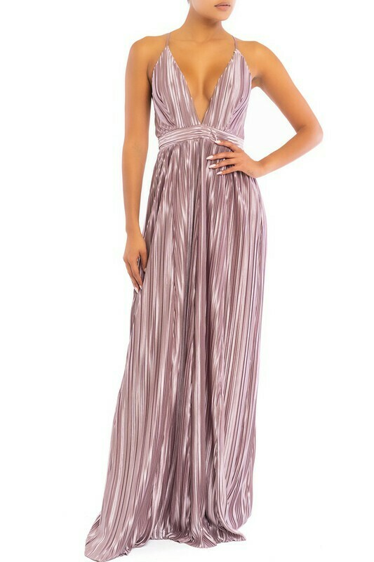 Pleated Jersey Satin Maxi Dress