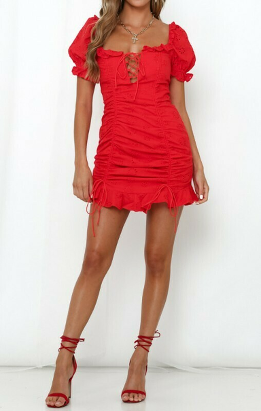 Peasant Puff Lace Up Dress