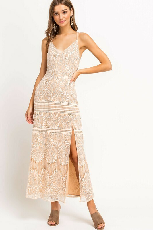 Lace Slit Maxi Dress