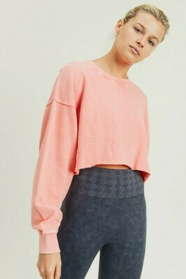 Cropped Jacquard Mineral Wash Pullover