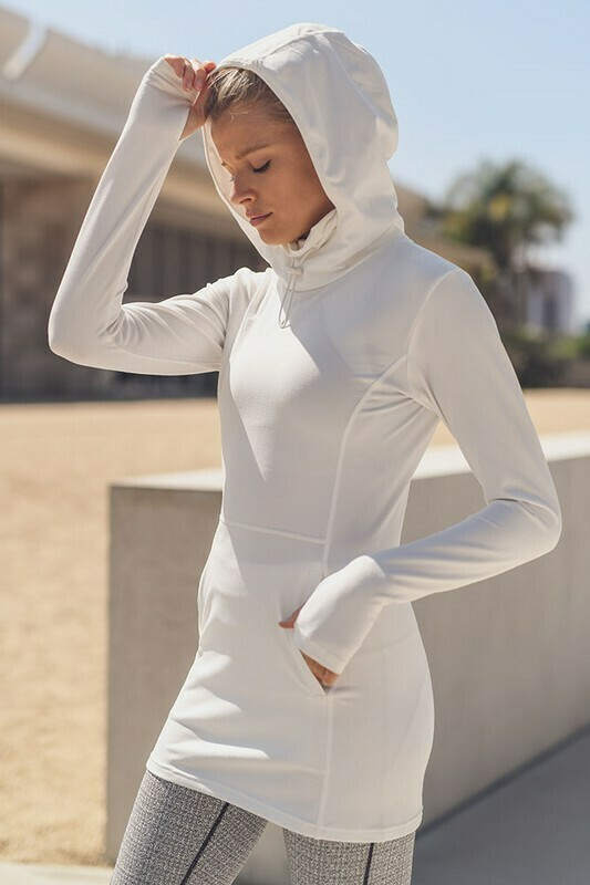 Active Hoodie Longline Pullover with Drawstring