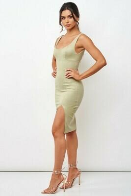 Suede Bodycon Midi Dress