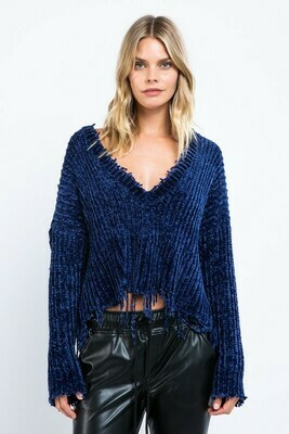 V-Neck Distressed Sweater