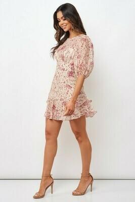 Puff Sleeve Cherry Blossom Dress