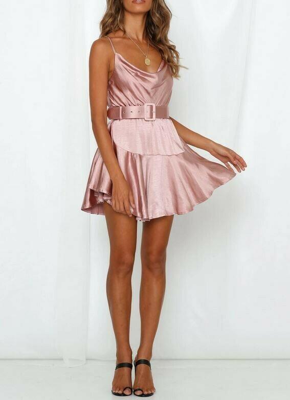 Satin Belted Mini Dress