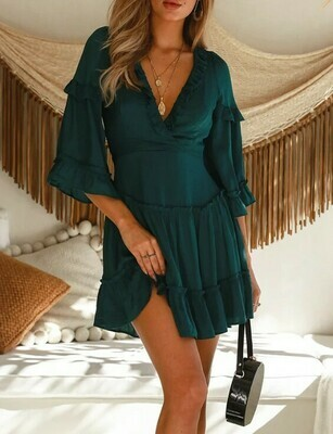 Satin Peasant Dress