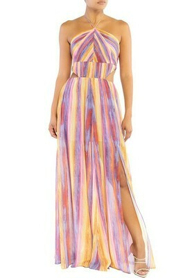 Striped Pleats Maxi Dress