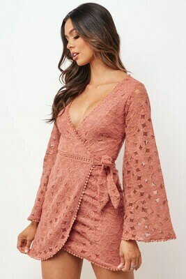 Crotchet Bell Sleeve Floral Dress