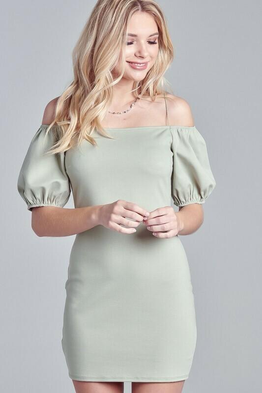 Skinny Strap Puff Dress
