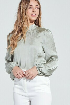 Satin High Neck Blouse