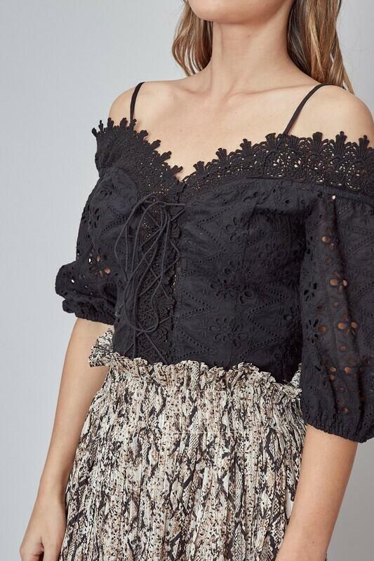 Cold Shoulder Trim Lace Top