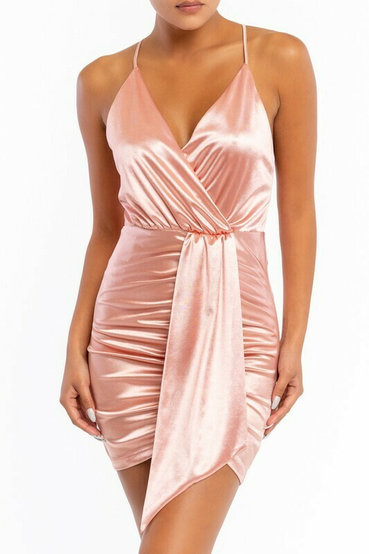 Satin Jersey Drape Dress