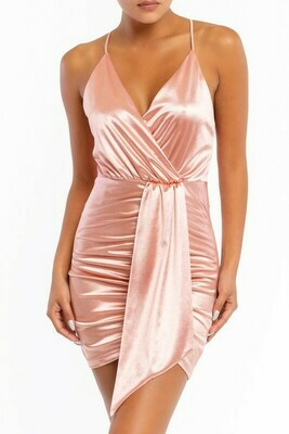 Satin Jersey Drape Dress