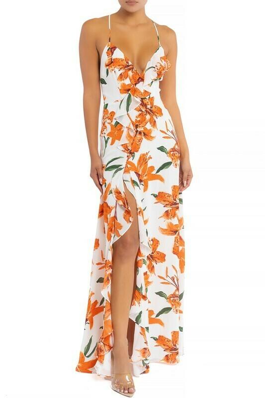 Hawaiian Ruffle Slit Maxi Dress