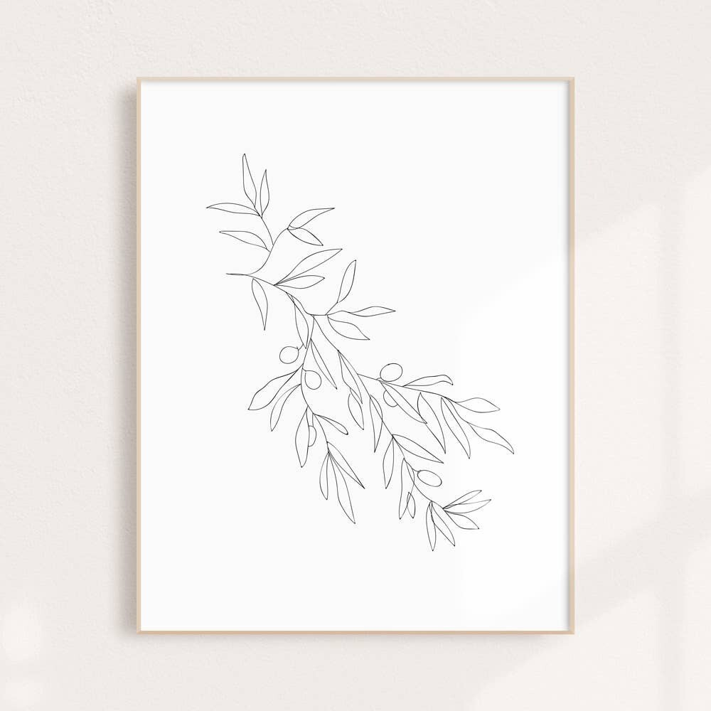 Line Drawing Olive Branch Wall Art Print 11x14