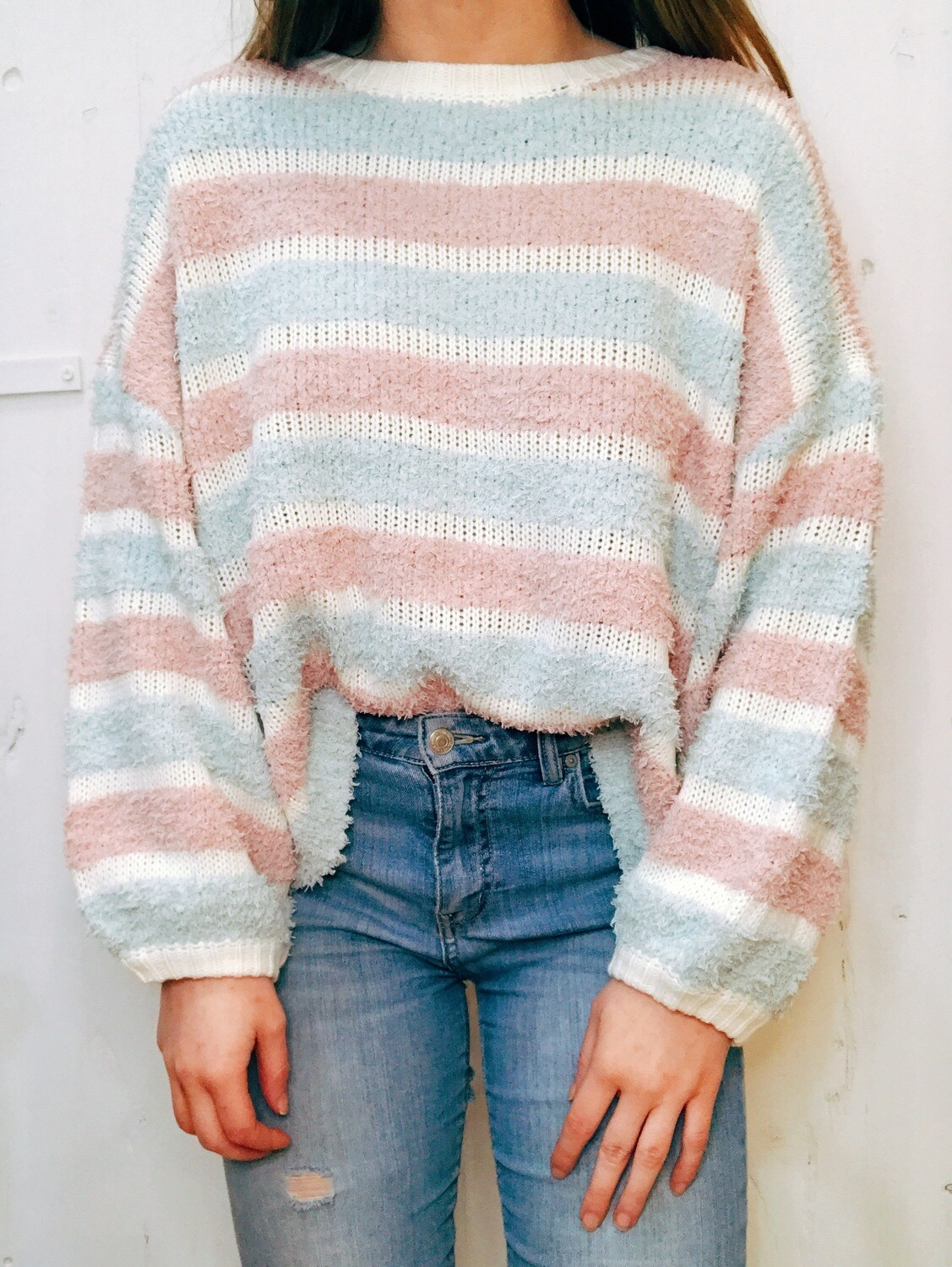 Fuzzy Striped Tunic Top